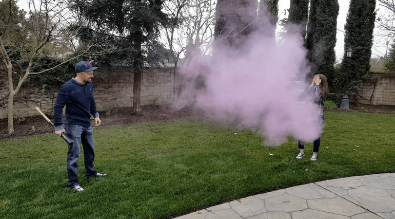 Gender reveal baseball baby girl