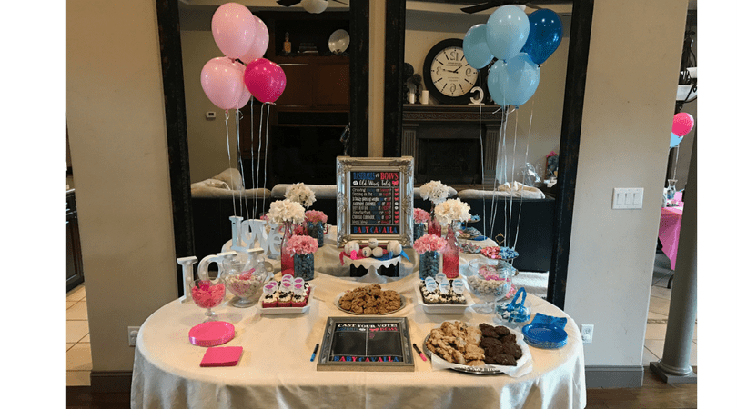 Gender reveal dessert table baseball or bows