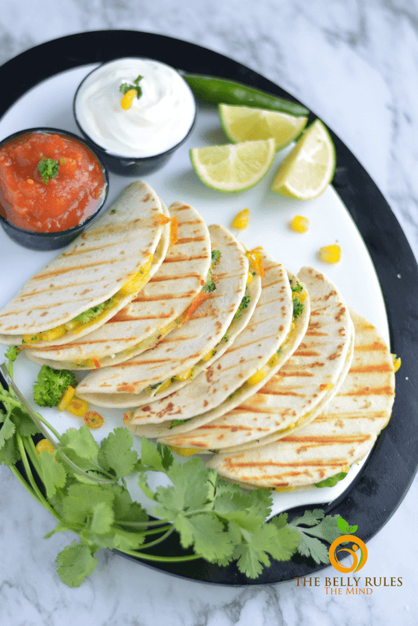 Broccoli and corn quesadilla healthy meal for picky toddlers