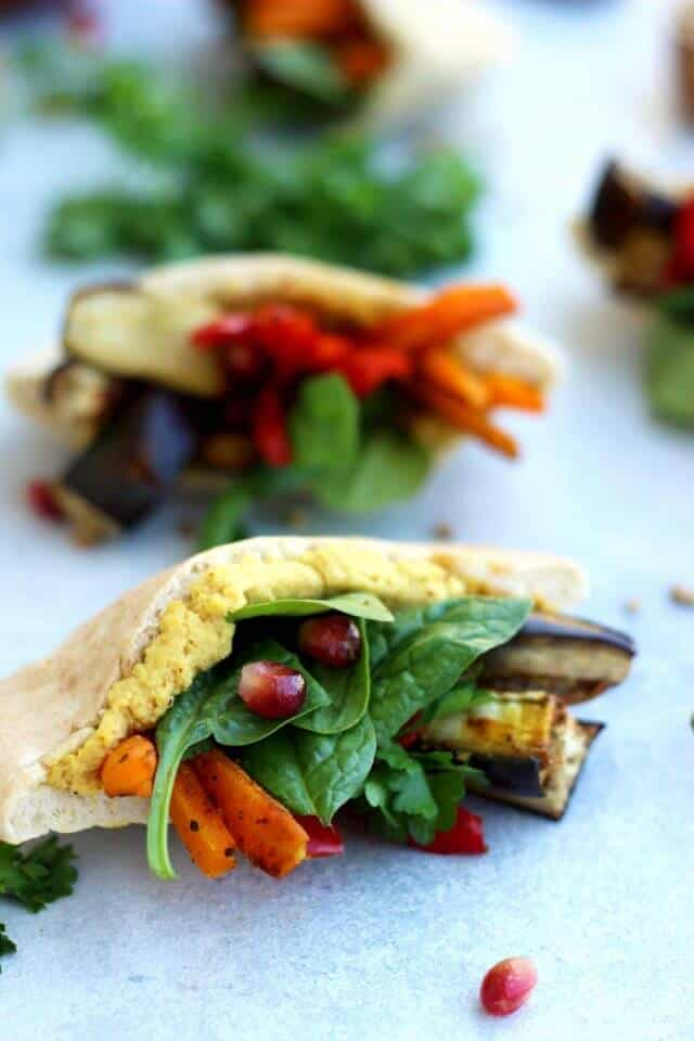 Vegan Pita pockets with vegetables and hummus for picky toddlers