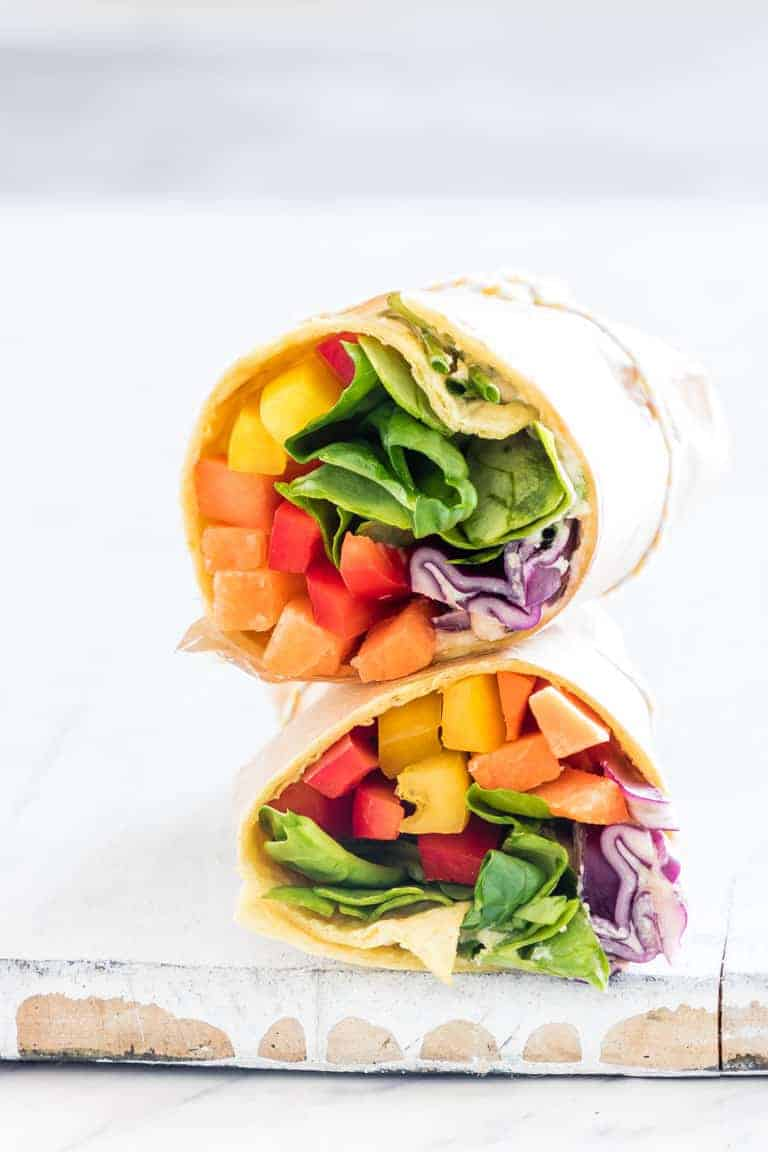 Rainbow vegetable tortilla wrap healthy meals for picky eaters