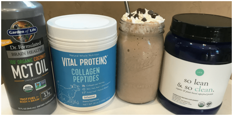a picture of collagen protein, protein powder and a protein shake. the ingredients to make a healthy protein shake during pregnancy