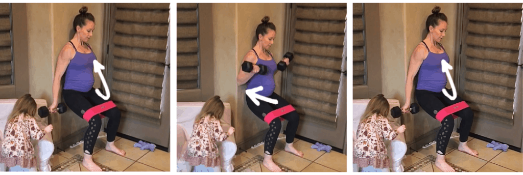 Prenatal fitness routine. Wall squat bicep curl