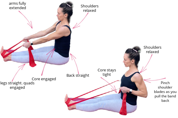 fit mom sitting on the floor in great pants and black top with a resistance band around her feet and pulling it to do a row exercise to help with back pain during pregnancy