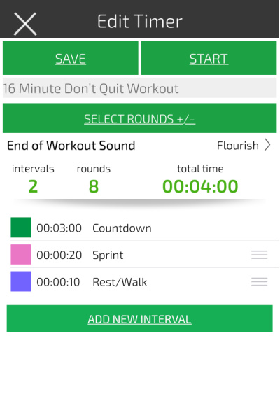 an image showing how to set an interval time to do a 4 minute treadmill hiit workout for fat loss