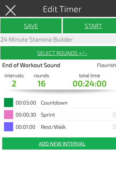 an image showing how to set an interval time to do a 24 minute treadmill hiit workout for fat loss