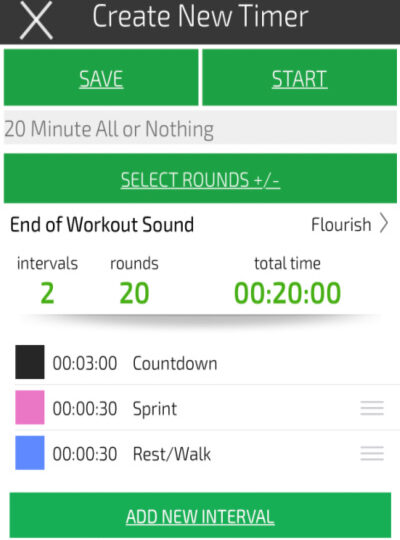 an image showing how to set an interval time to do a 20 minute treadmill hiit workout for fat loss