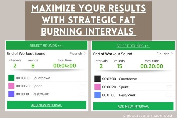 two images of how to set an interval timer to perform HIIT treadmill workouts for fat loss