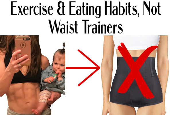 image of fit mom with strong abs holding a baby compared to a picture of a person wearing a black corset. This image shows the difference between a strong core and using a waist trainer