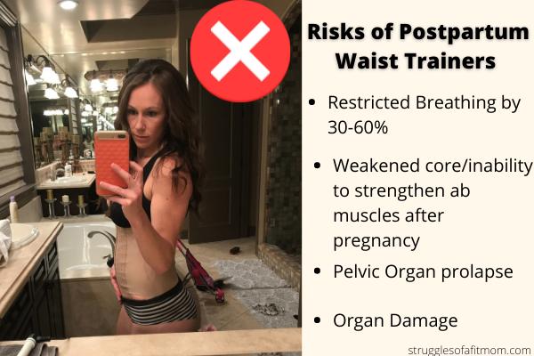 image of postpartum mom wearing a beige waist trainer in her bathroom after pregnancy.